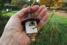 Birdhouse Ornament, Large Black Walnut and White Birch Turned Ornament