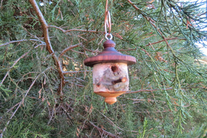 Birdhouse Ornament, Medium Black Walnut and White Birch
