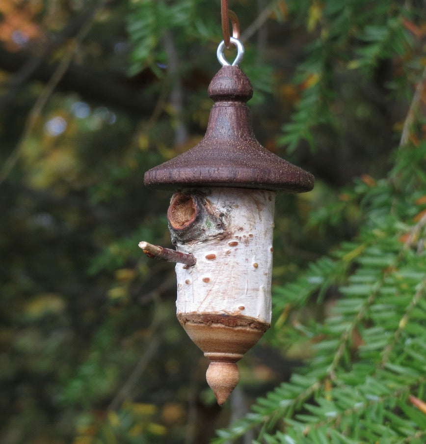 Hand turned birch and walnut birdhouse ornament