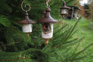 Birdhouse Ornament, Medium Large Black Walnut and White Birch Turned Ornament