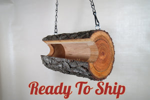 log bird feeder, bird feeder, rustic bird feeder