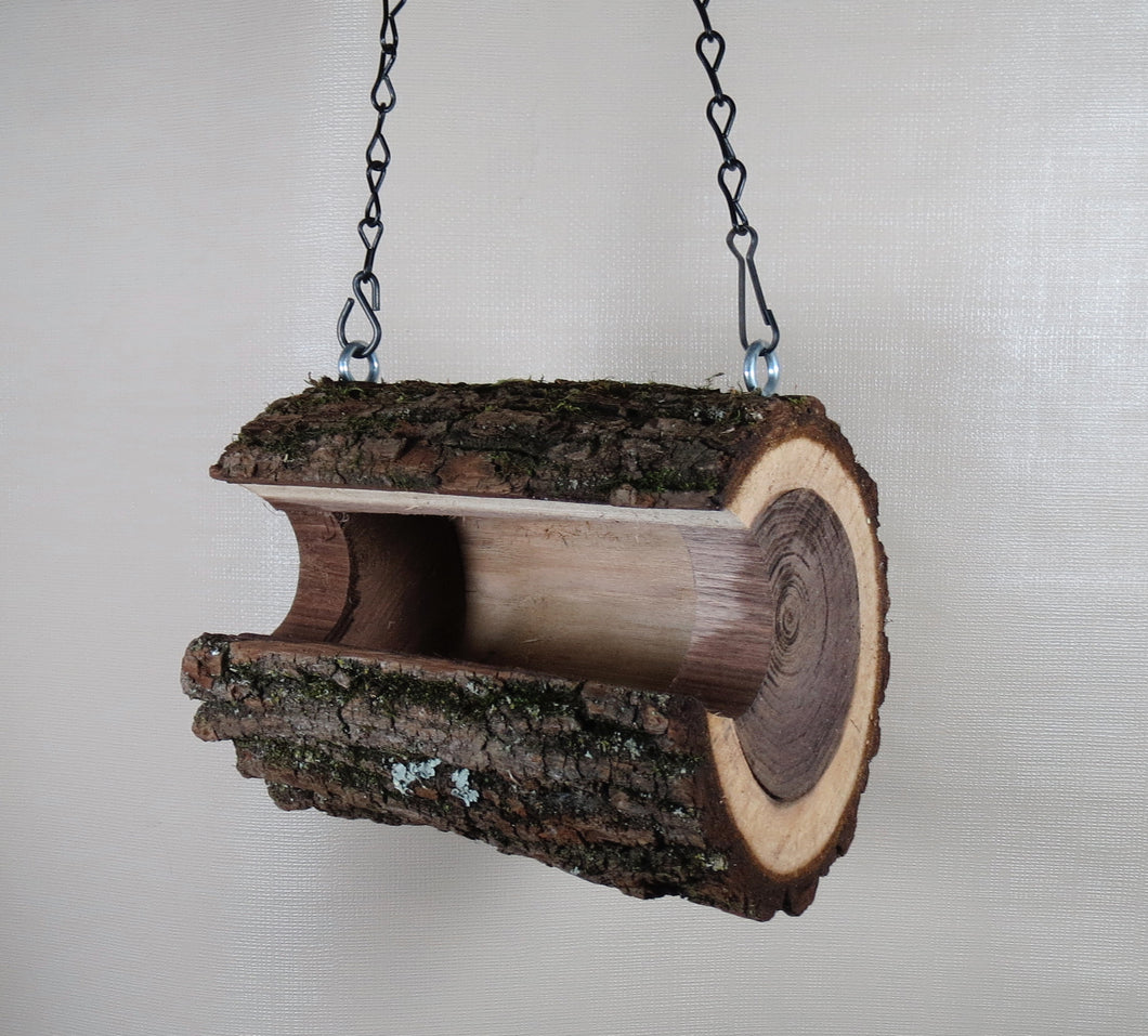 Log Bird Feeder, Walnut Log birdfeeder