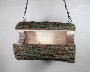 Walnut Log Bird Feeder, Medium size