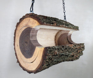 walnut log bird feeder, rustic bird feeders, Schoolhouse Woodcrafts
