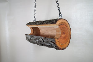 hanging log bird feeder from Schoolhouse Woodcrafts