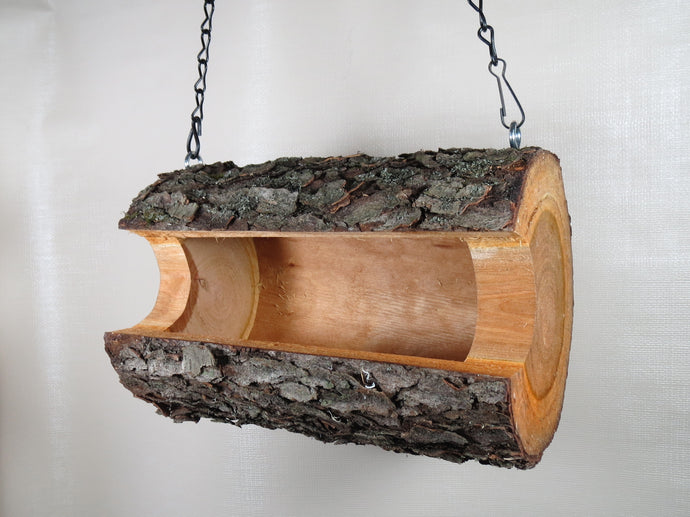 bird feeder, log bird feeder, hanging bird feeder