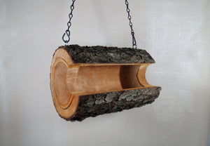 Bird feeder, natural log hanging bird feeder