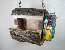 Bird feeder, birdfeeder, Walnut log bird feeder, seed & suet feeder