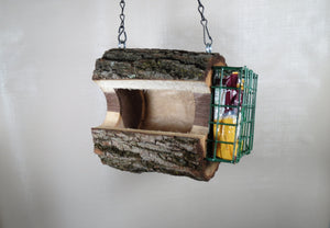 Bird Feeder, Combo Seed & Suet Walnut Bird Feeder