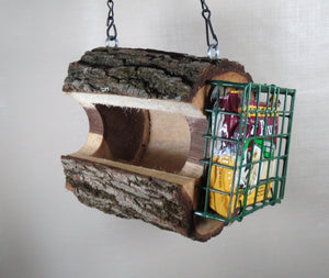Bird feeder, birdfeeder, Walnut log bird feeder, seed & suet feeder, Schoolhouse Woodcrafts