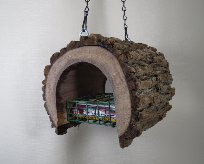 Suet Feeder, log bird feeder, Schoolhouse Woodcrafts, Black Walnut Feeder