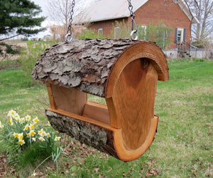 Bird feeder, log birdfeeder, fly through bird feeder