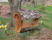 Fly-through bird feeder, cherry bird feeder, bird seed feeder made by Schoolhouse Woodcrafts
