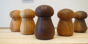 Garlic Crushers, different turned woods, Mushroom shaped garlic mashers