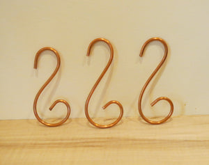 Small Swirly Copper Hooks, Set of Three