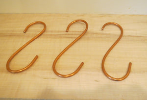 Solid Copper Hooks, Set of Three Copper Hooks