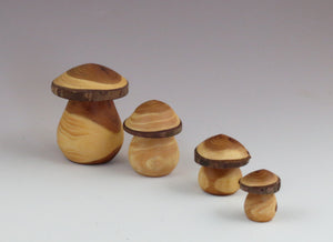 Turned wood mushrooms, 4 sizes available