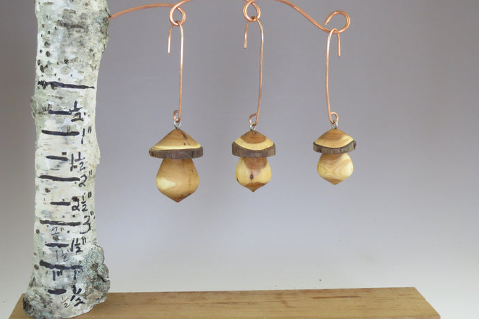 Miniatures, turned mushroom ornaments, schoolhousewoodcrafts.com