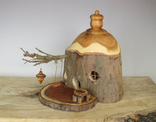 fairy house with swing and dinette, hand turned fairy house