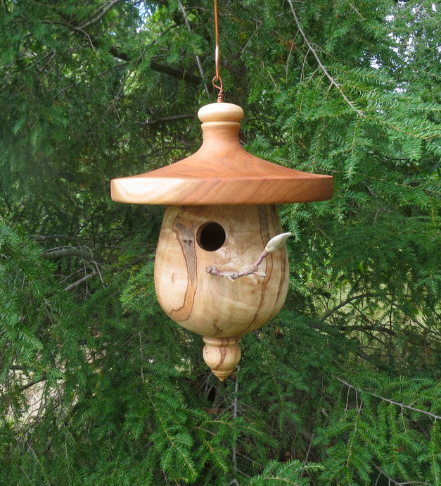 Turned Birdhouse, Cherry & Ambrosia Maple Birdhouse, Usable Outdoor Birdhouse