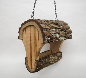 Walnut Fly-through Bird Feeder, Schoolhouse Woodcrafts