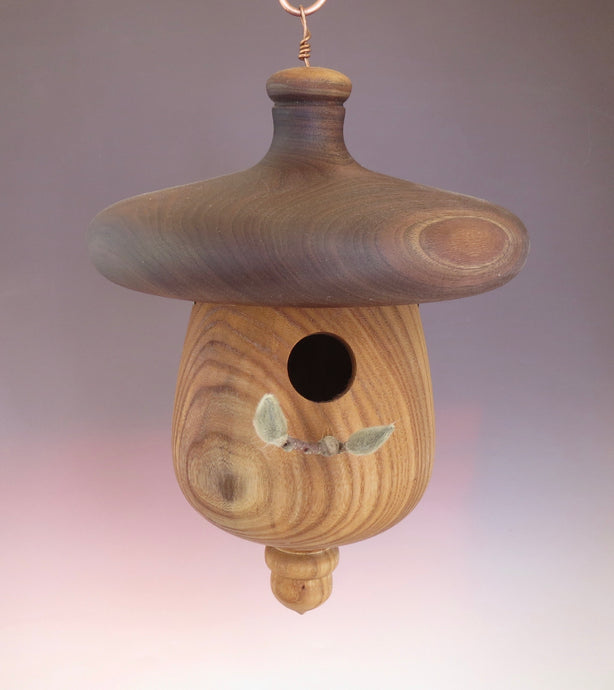 Elm and Walnut usable birdhouse turned by Schoolhouse Woodcrafts