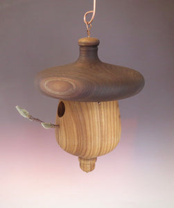Birdhouse, Black Walnut and Elm Acorn Usable Birdhouse