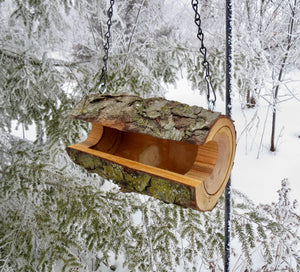 Wild cherry log hanging bird feeder, designed and made by Schoolhouse Woodcrafts