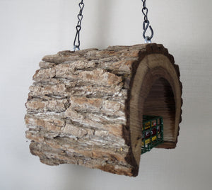 suet feeder, natural bird feeder, wood bird feeder, unique bird feeder