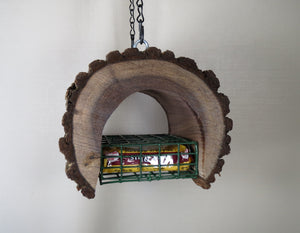 suet feeder, natural bird feeder, wood bird feeder, unique bird feeder, Schoolhouse Woodcrafts