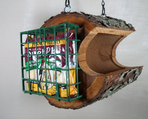 log seed bird feeder, made in america, hanging bird feeder,