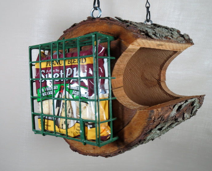 log seed & Suet bird feeder, made in america, hanging bird feeder,