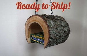 ready to ship Suet Feeder, log bird feeder