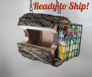 walnut log bird feeder