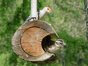 Log  bird feeder with birds made by Schoolhouse Woodcrafts