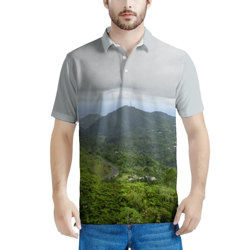 100% Pique fabric - Men's All Over Print Polo Shirt - Two Views from the Highest Road in Puerto Rico - over 4,000 feet road PR 143. - Yunque Store