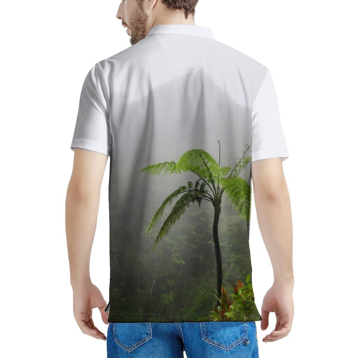 100% Pique - Men's All Over Print Polo Shirt - High Mountain Fern Palm - Toro Negro rainforest Park Over 4,000 feet altitude - Highest in Puerto Rico - Yunque Store