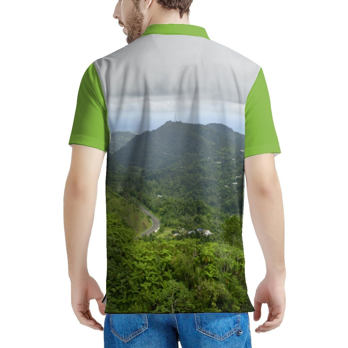 100% Pique - Men's All Over Print Polo Shirt - High Mountain Fern Palm - Toro Negro rainforest Park Road PR 143 - Over 4,000 feet altitude - Highest in Puerto Rico - Yunque Store