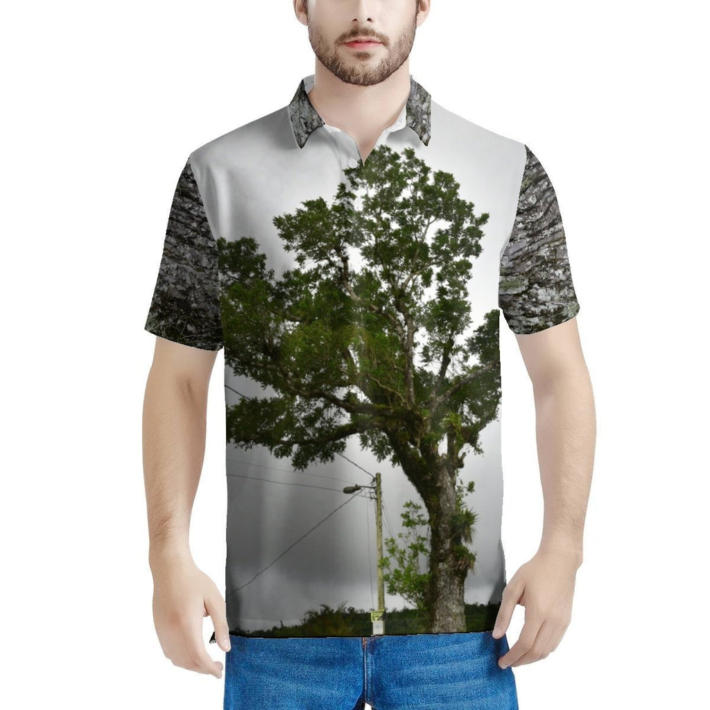 100% Pique - Men's All Over Print Polo Shirt - High Mountain Large Tree front and bark in back - on way to Toro Negro Park PR 143 Puerto Rico - Yunque Store
