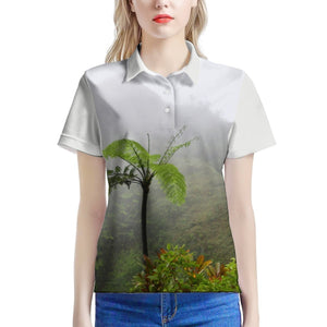 100% Pique - Women's All Over Print Polo Shirt - High Mountain Fern Palm - Toro Negro rainforest Park Over 4,000 feet altitude - Highest in Puerto Rico - Yunque Store