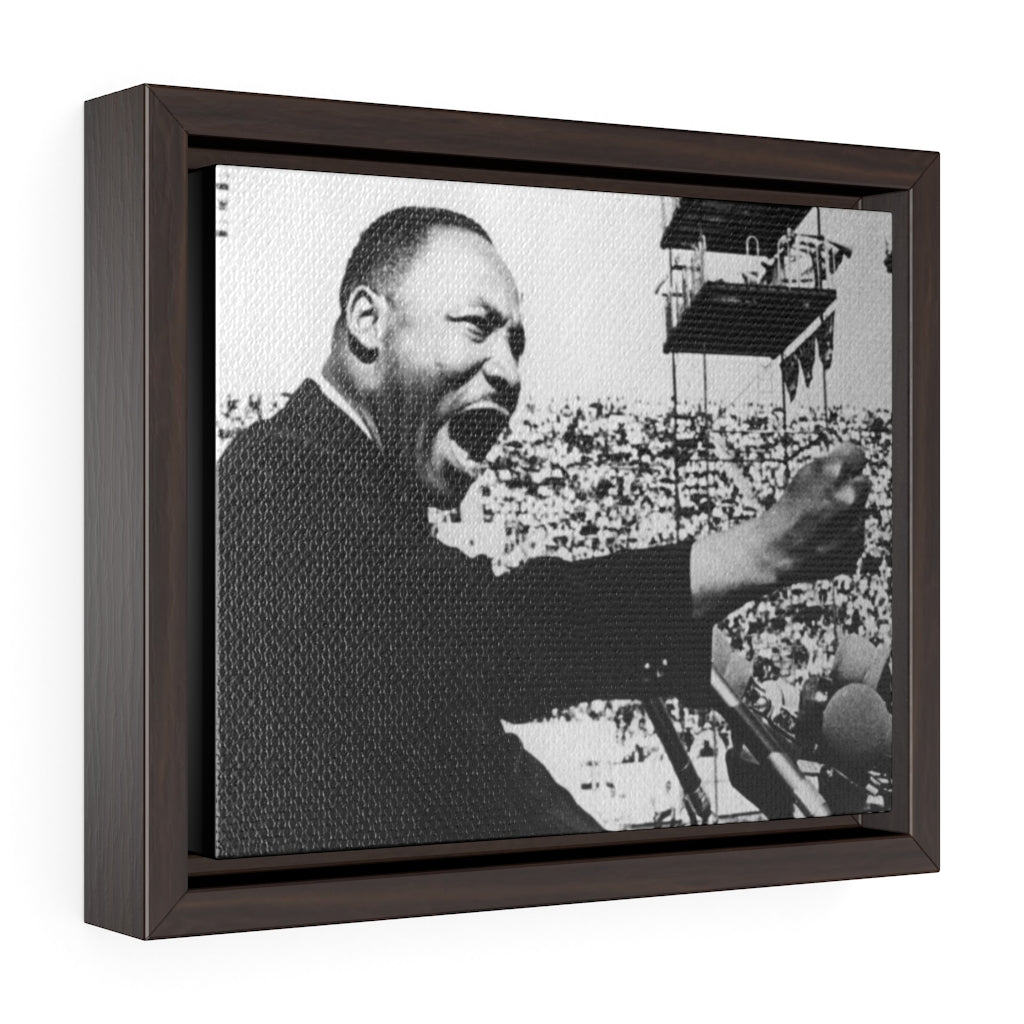 "Horizontal Framed Premium Gallery Wrap Canvas  - MARTIN LUTHER KING JR - IN CELEBRATION OF MAY 17 1957 MLK SPEECH - ""GIVE US THE BALLOT"" ADDRESS DELIVERED AT THE PRAYER PILGRIMAGE FOR FREEDOM IN WA. DC."