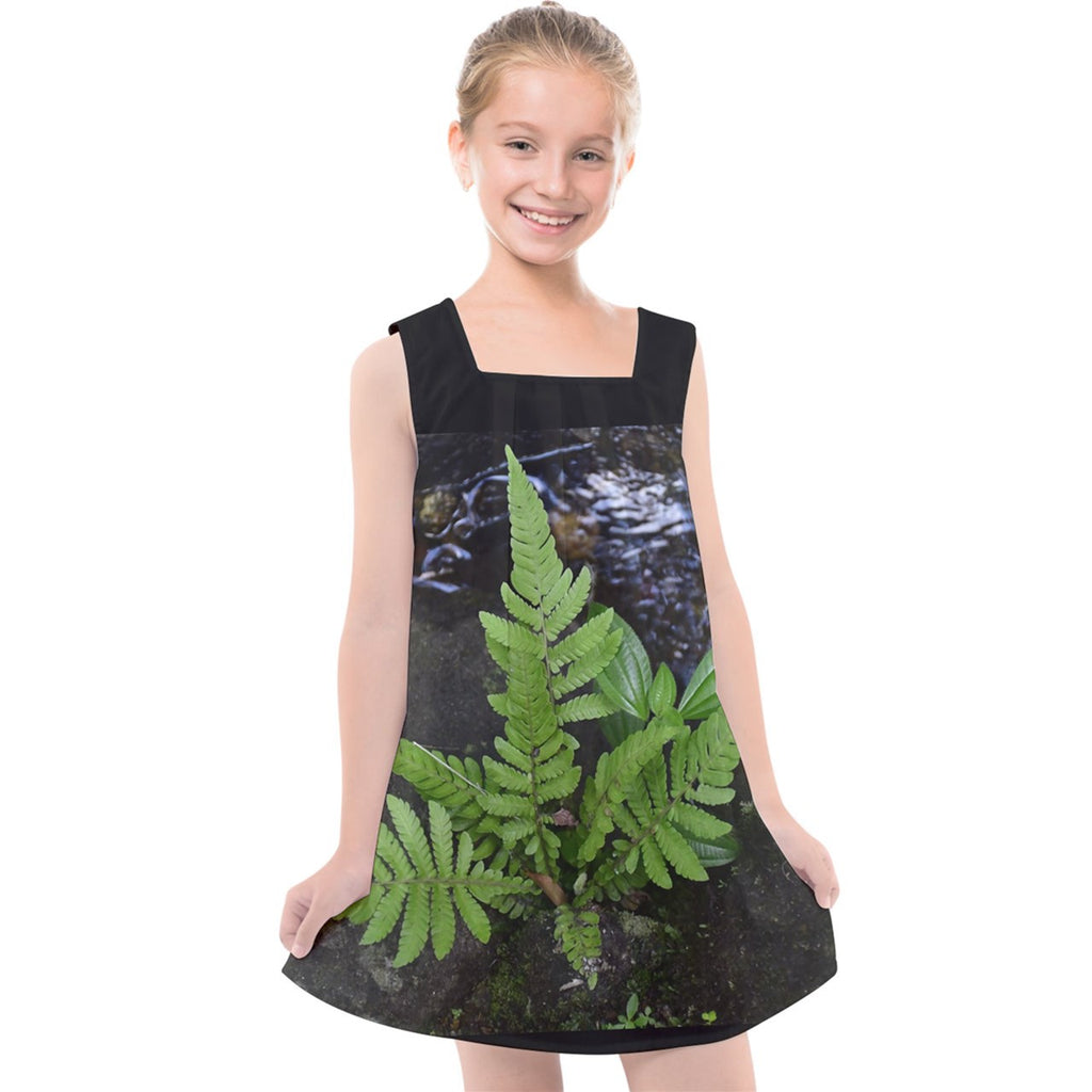 Kids' Cross Back Dress - Baby Fern Plant on Boulder with Moss in a small stream of the Yunque Rainforest