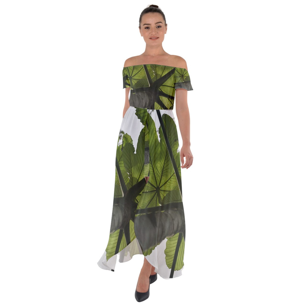 Off Shoulder Open Front Chiffon Dress - Awesome Yagrumo Tree - El Yunque rainforest