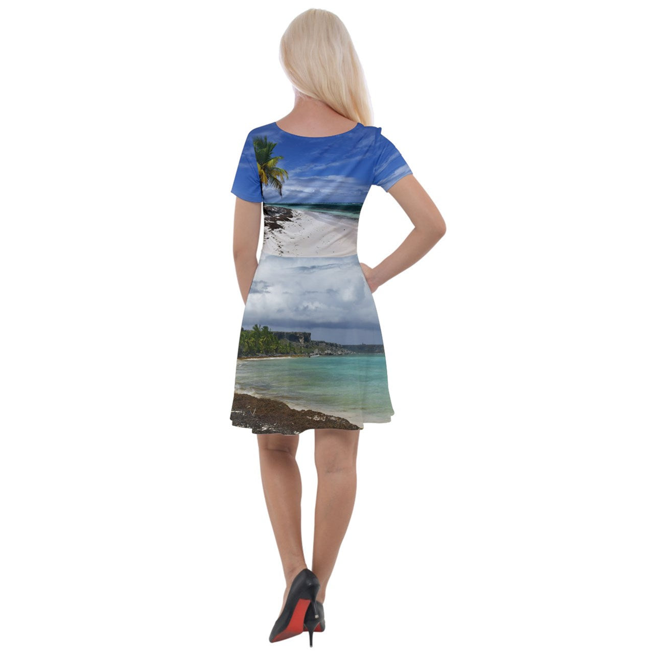 Cap Sleeve Velour Dress  - Awesome remote Mona Island beaches Puerto Rico