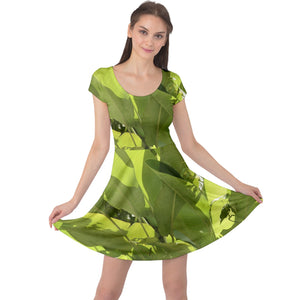 Cap Sleeve Dress - Tropical Banana-Like Plants in Rio Sabana in El Yunque rainforest PR