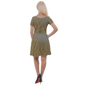 Cap Sleeve Velour Dress  - A Ying/Yang Effect of the Beach Sand Patterns and Waves Crashing Nearby - Isabela PR