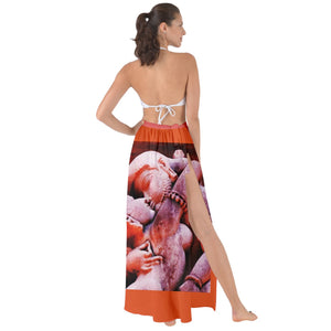 Maxi Chiffon Tie-Up Sarong - Passionate Sculptures from Tantrik Temples in India