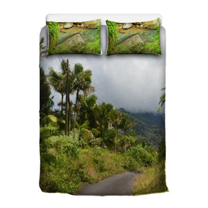 3 Pcs Beddings - Lost road PR 191 in El Yunque rainforest due to a large landslide - Pillows the La Mina River - Puerto Rico - Yunque Store