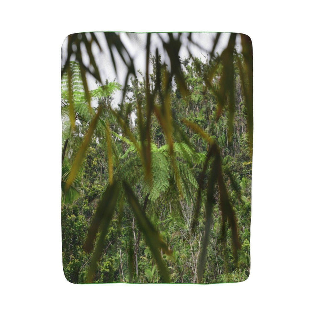 $30 Winter Deal - Sherpa Fleece Blanket - Bamboo tree leaves in Rio Sabana park - El Yunque rain forest PR Home Decor Printify