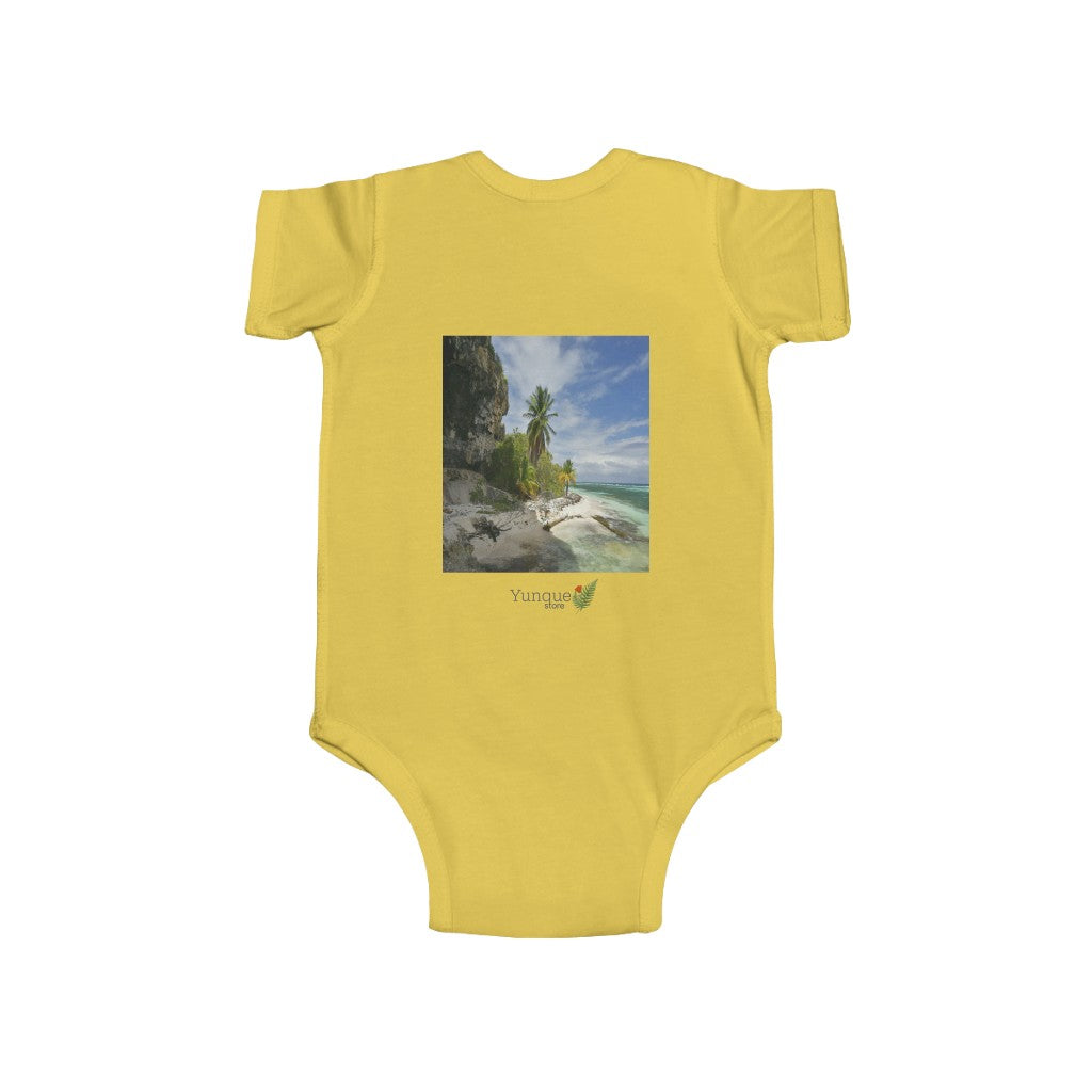 📢 A Steal for $16.99 - UK Print - 🛀 Infant Fine Jersey Cotton Bodysuit - Beautiful Tropical 🌴🐸🌴 Beaches of Puerto Rico - Remote Mona Island